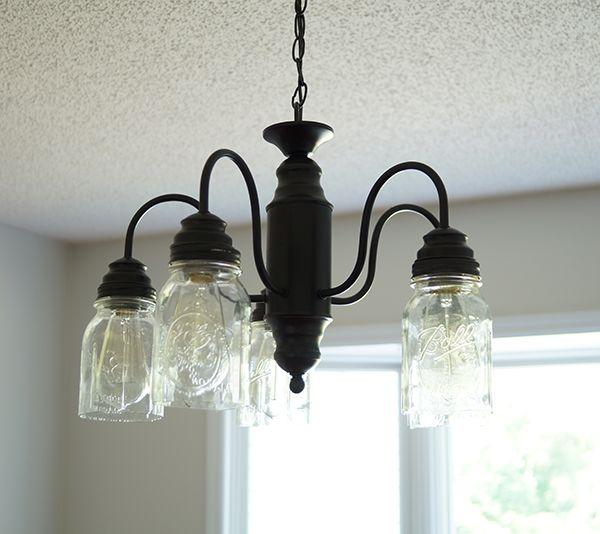 DIY mason jar chandelier farmhouse style @savedbyloves
