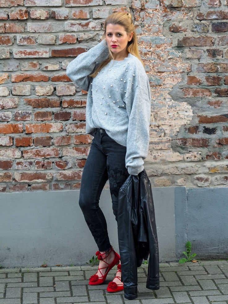 Fashion-Outfit-Herbst-Look-Streetstyle-Embroided-Denim-Lace-Up-Flats-Aquazzura-Knit-Pearls-Leather-HM-Zara-Boss-Blog-Kathi-Meetthehappygirl-Köln