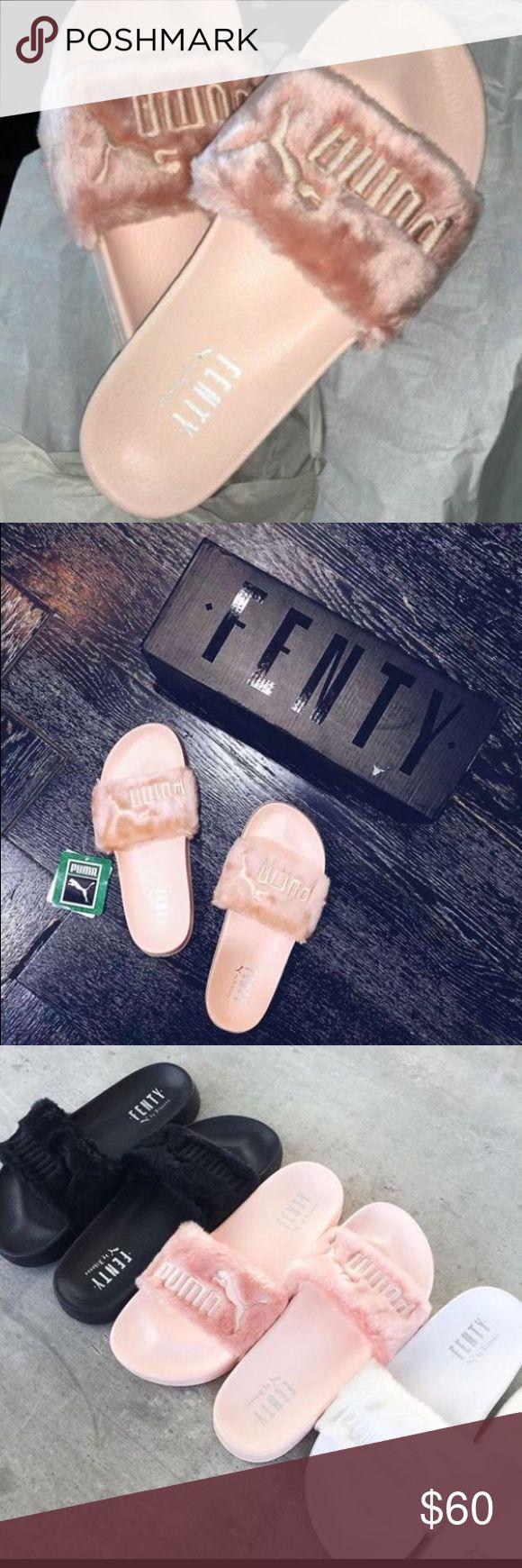 """""""PUMA"""" Rihanna Fenty Fur Slippers Puma Leadcat Fenty Slippers Puma Shoes Slippers"""