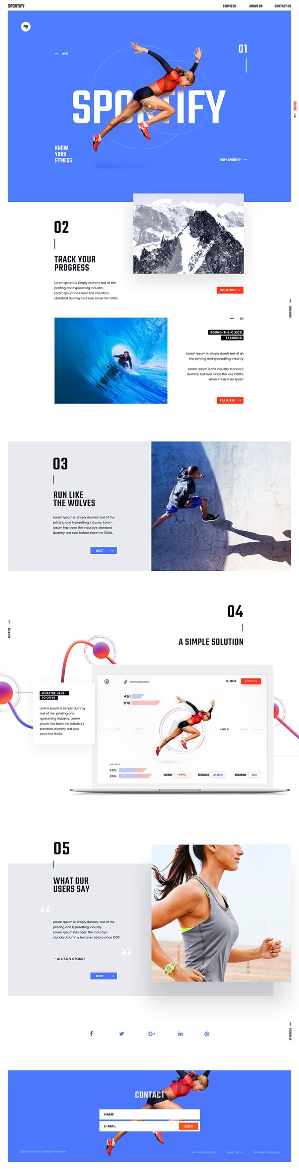 Sportify Website Landing Page helping users understand features and functions of app - tracking sports and exercise activities