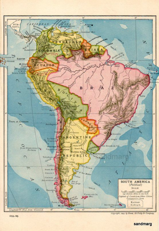 Original Antique Edwardian Political  Map of South America Galapagos Islands  Rand McNally 1903