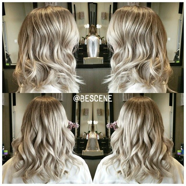 ALL ABOUT THAT BASE! Sometimes the trick to achieving multi-dimensional color is getting that base to the perfect tone and level to accentuate the blonde. You don't have to get the blonde insanely light for it to shine. I used @Schwarzkopfusa Igora Royal Base: 6-63, 7-1 10vol Ends: 9.5-22, 9.5-49 10vol.  Tousled waves by my assistant @sunny_bescene #BESCENE