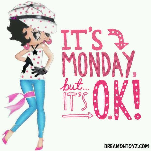 It's Monday, but...it's OK! ➡ More Betty Boop graphics & greetings: http://bettybooppicturesarchive.blogspot.com/  ~And on Facebook~ https://www.facebook.com/bettybooppictures  Cute #BettyBoop wearing pink polka dots