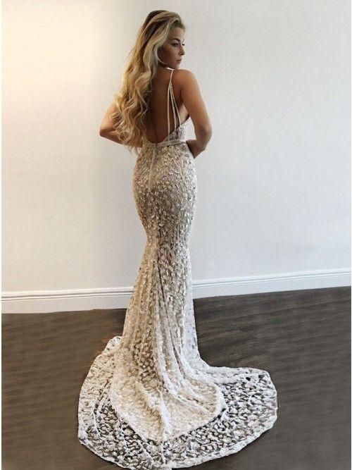 bda4fee766a Mermaid Deep V-Neck Backless Sweep Train Silver Lace Prom Dress ...