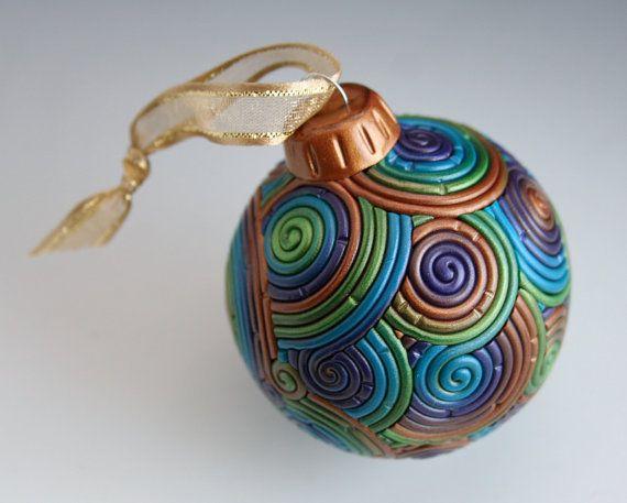 Polymer Clay Peacock Color ornament idea