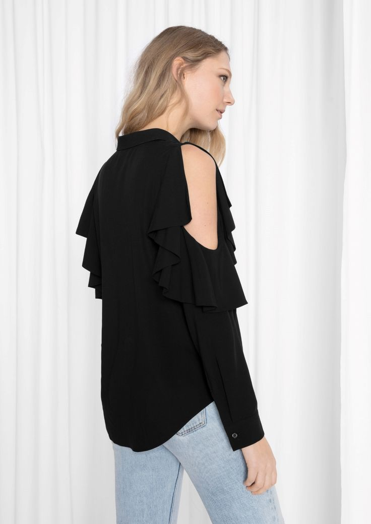 & Other Stories image 3 of Frilled Cut Out Blouse  in Black