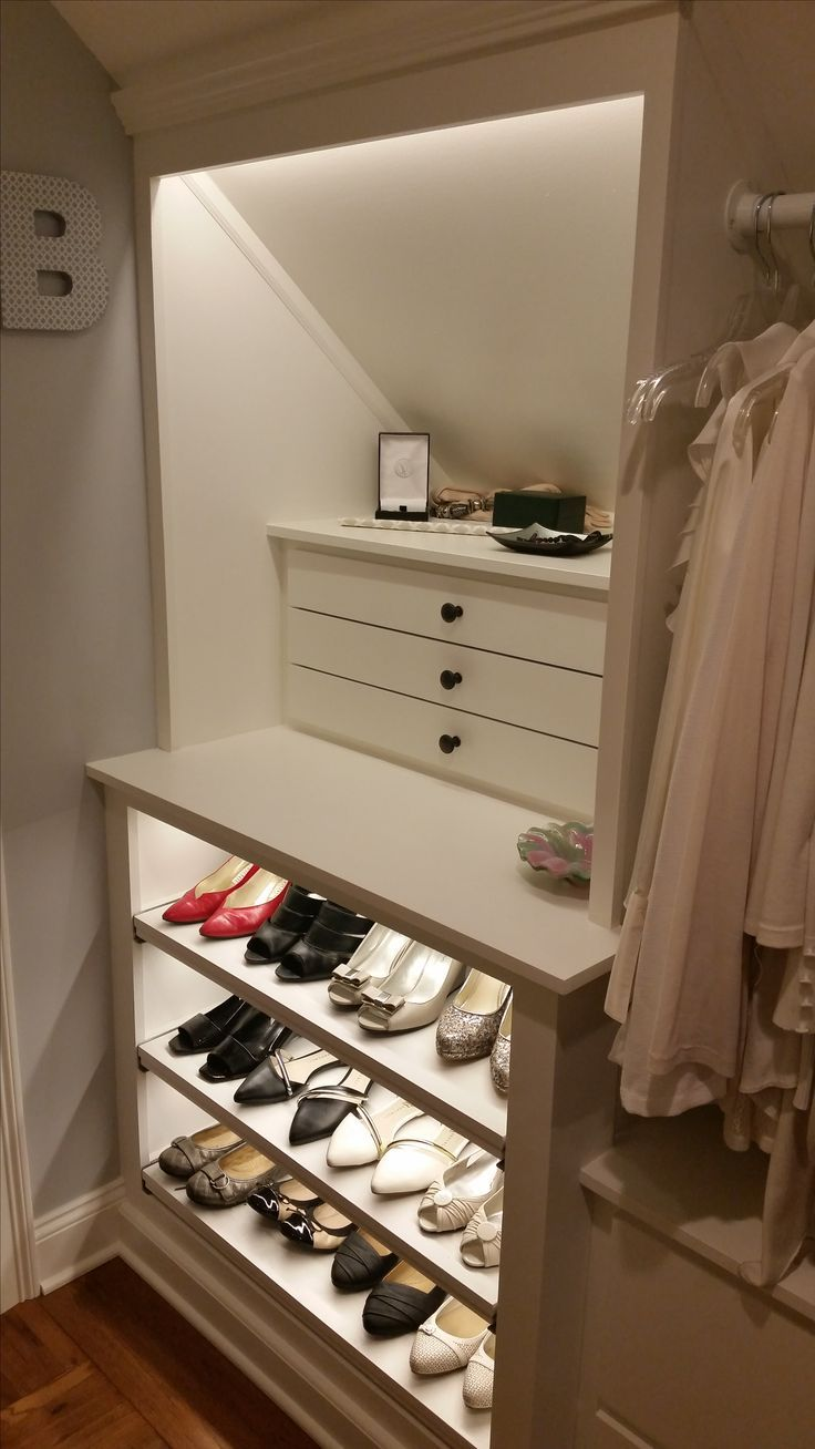 Custom Walk In Closet, Slanted Ceilings.jewelry Drawers And Pull Out  Shelves For Shoes.