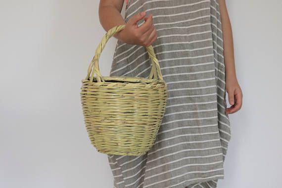 Jane Birkin Basket, Large size, Handmade in Portugal, basket with lid, Handwoven Birkin Basket, cane, Round Basket, Basket Purse.