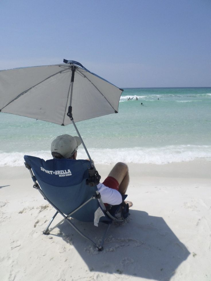 Beach chair with a canopy or umbrella provides all day
