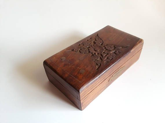 brass inlay wooden box  rustic hand carved wooden box