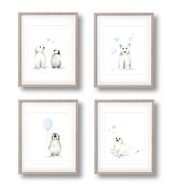 Polar Bear Nursery Art, Set of 4, Baby Boy Nursery, Arctic Animals, Penguin, Polar Bear, Seal, Childrens Wall Decor, Painting, Baby Animals