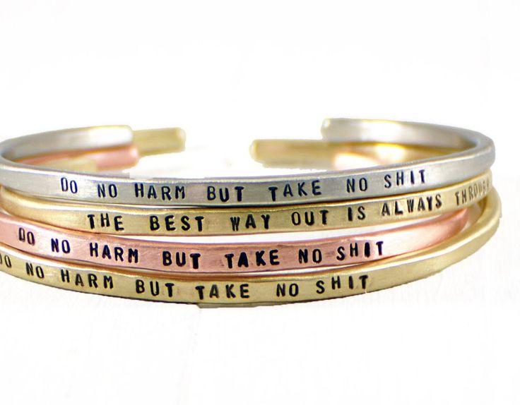 Personalized Mantra Cuff Bracelet.