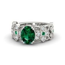 Oval Emerald Platinum Ring with Emerald & Diamond - Mantilla Ring: Metal arcs like lace in the band of this detailed ring.