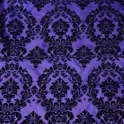 Flocked Purple Taffeta With Black Damask Fabric Full