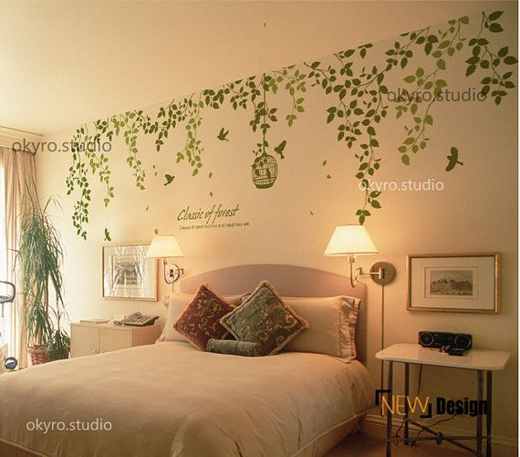 vine wall stickers vine wall decal bird by DOMOREwallstickers