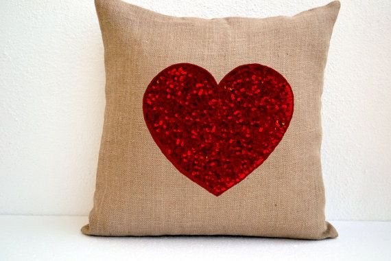 Burlap heart pillow cover with red heart made with by AmoreBeaute