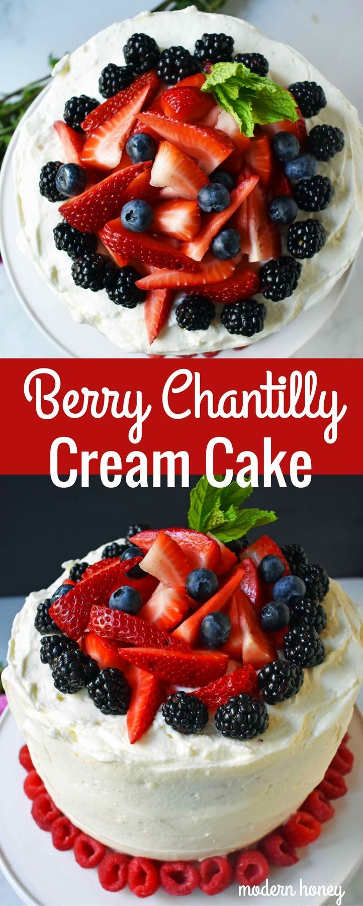 Berry Chantilly Cream Cake. Homemade 5 Star Rated Yellow Cake layered with chantilly cream frosting and fresh berries.  A perfect Spring, Summer, or Mother's Day dessert. A gorgeous popular fresh fruit cake.  www.modernhoney.com