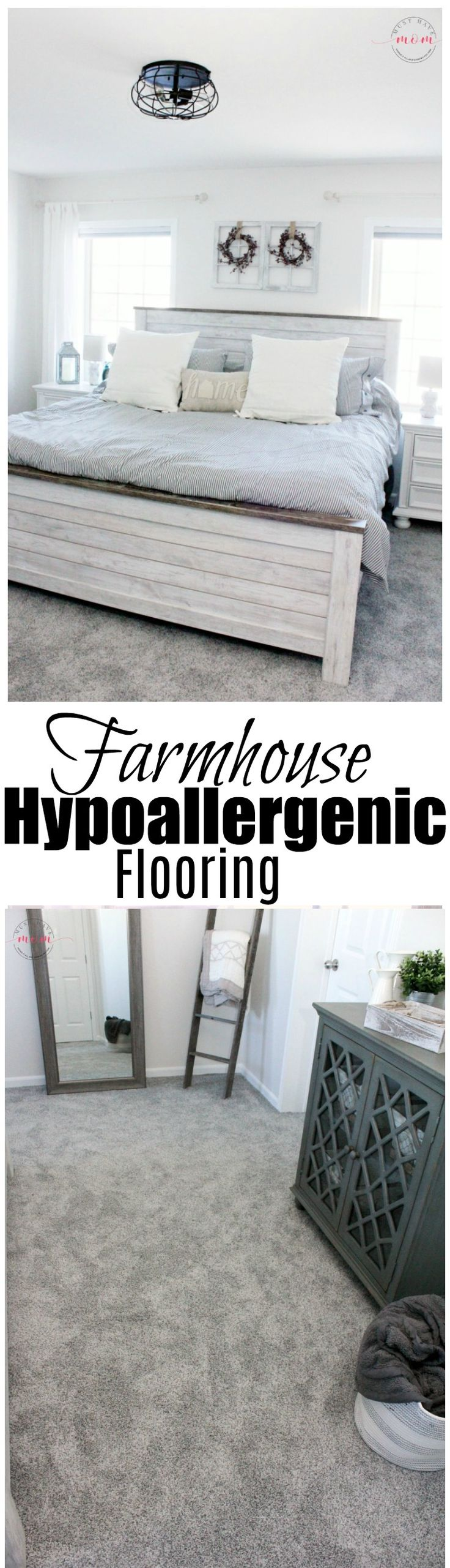 Farmhouse bedroom with hypoallergenic flooring. See the farmhouse decor, color scheme and hypoallergenic flooring picks for this final look! AD