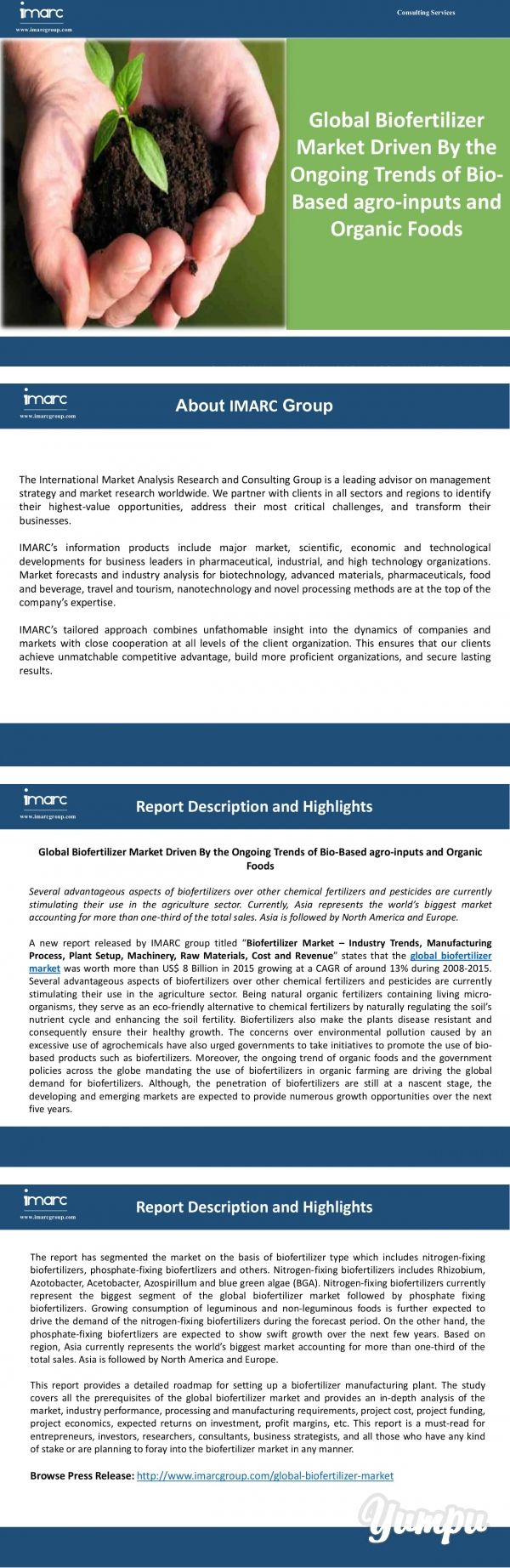 "Global Biofertilizer Market Analysis | Size | Research Report - Magazine with 10 pages: A new report released by IMARC group titled ""Biofertilizer Market – Industry Trends, Manufacturing Process, Plant Setup, Machinery, Raw Materials, Cost and Revenue"" states that the global biofertilizer market was worth more than US$ 8 Billion in 2015 growing at a CAGR of around 13% during 2008-2015. Read more here: http://bit.ly/2aEZ7HX"
