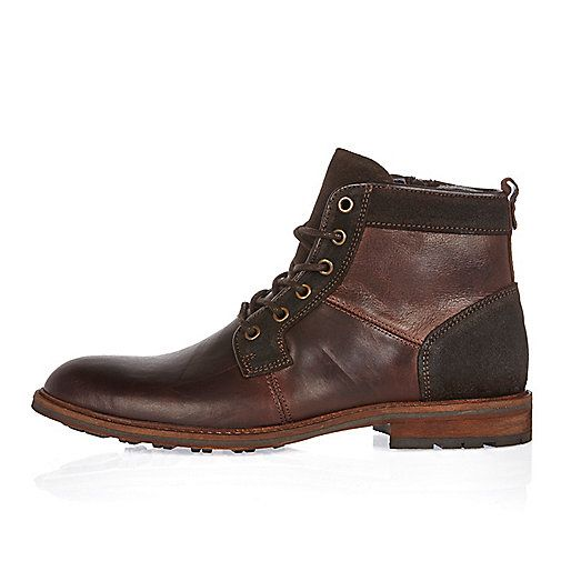 Brown leather lace-up worker boots | £65 - amazing working shoes #riverisland