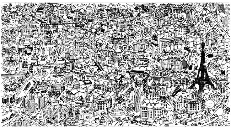 Free coloring page coloring-fresco-paris. An impressive fresco of Paris and the monuments ... do you know them all?
