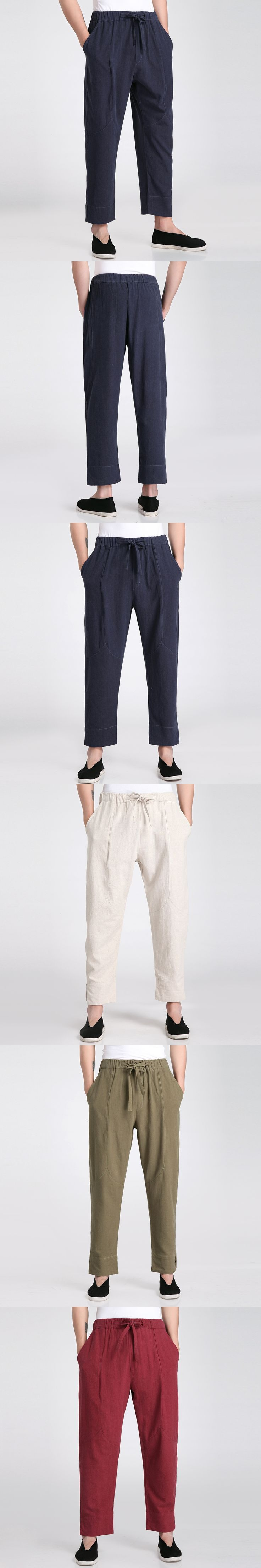 New Arrival Chinese Men's Cotton Linen Kung Fu Pant Vintage Casual Loose Trousers Clothing M L XL XXL XXXL 2606