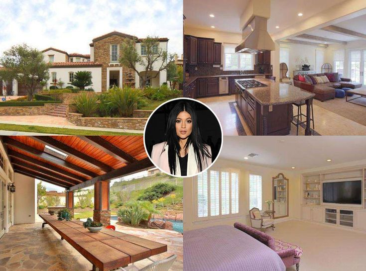Kylie Jenner from Celebrity Mega Mansions  Flying the coop! Six months before she turns 18, the E! star bought her first home: A $2.7 mansion down the block from her older sisters.