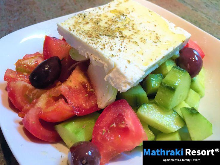 Our version of the well known Greek salad. Green, fresh and healthy! #Greek #Salad #Green #Olives #Fresh #Oregano #Χωριάτικη #Mathraki #Resort #Gouvia #Corfu #Greece #Summerfood