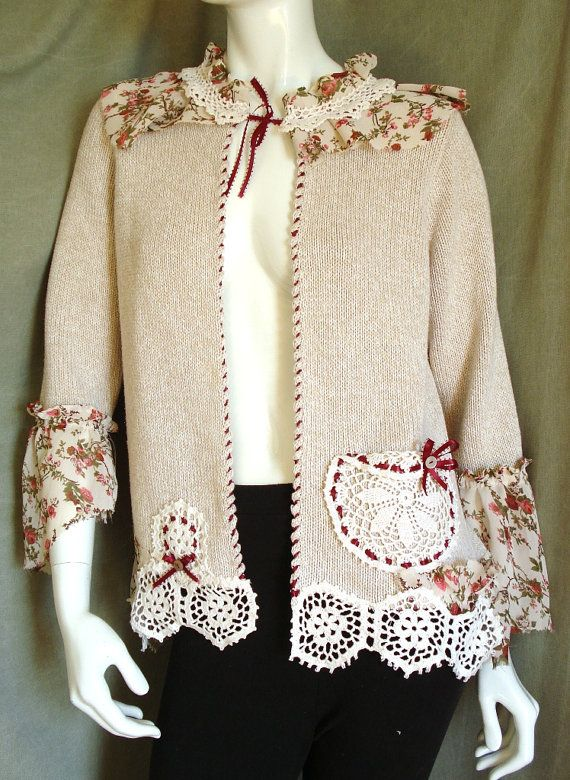 Altered couture  WEARABLE art ROMANTIC style CARDIGAN by natatusy, $55.00 Very inspiring!