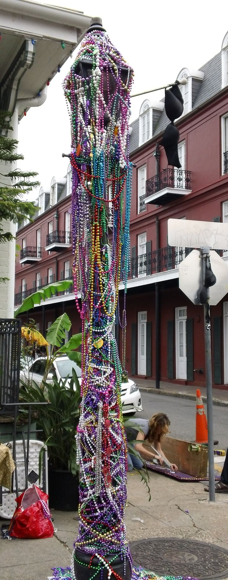 Street light in the French Quarter the Friday before Mardi Gras