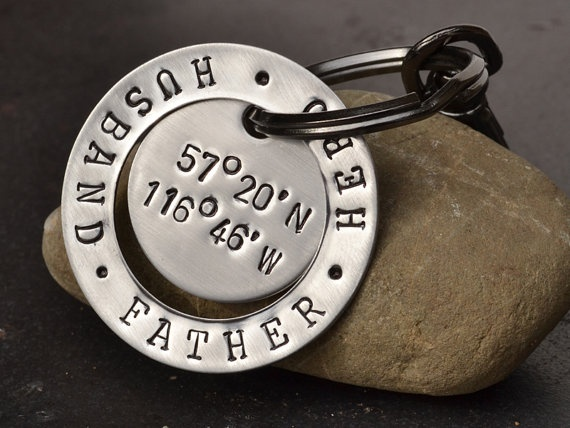 fathers day keychain with coordinates of birthplace