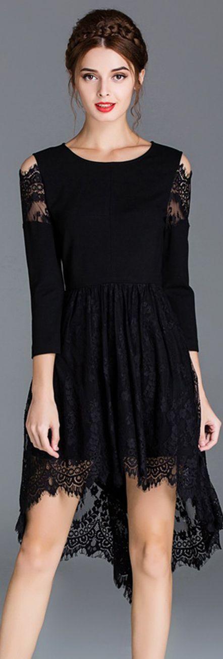 Black Cold Shoulder Lace High Low Dress