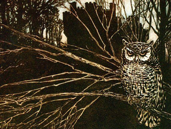 Screech Owl Fabric  Brothers Grimm Fairy Tale  by KatyDidsFabrics