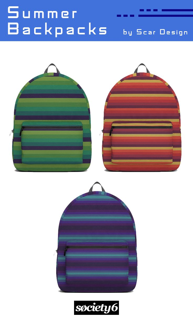 Summer Backpacks by Scar Design. #backpacks #summerbackpack #travel #backtoschool #schoolbackpack #campus #campusbackpack #giftsforhim #giftsforher #kidsgifts #kidsbackpack #colors #style #colorful #scardesign #society6