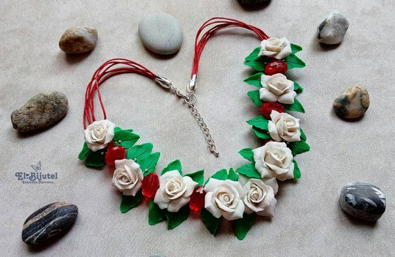 Necklace with roses made of polymer clay ️ polymer от Elbijutel