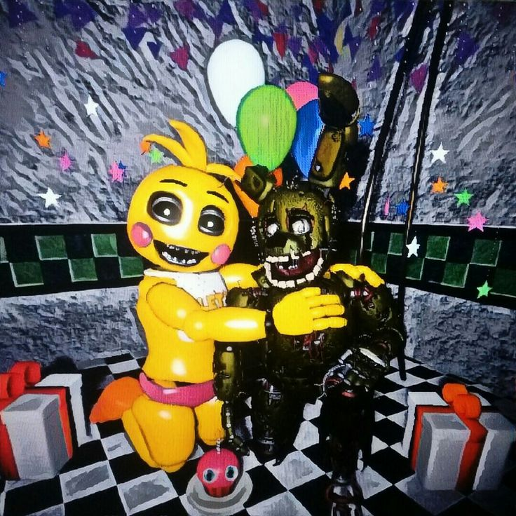 Portrait Of My Sfm Springtrap And Toy Chica Our Friends And I Fnaf Fnaf Five Nights At Freddy S Five Night