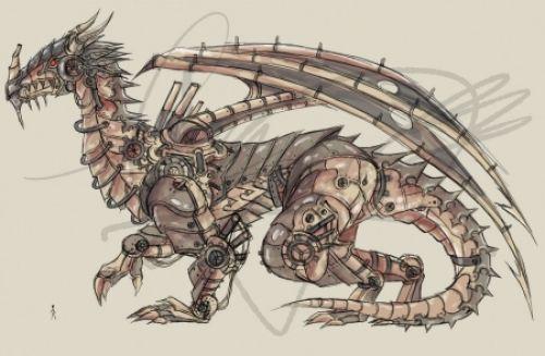 Human vs Mechanical Dragon - Dragon, Mechanical, Human, Vs, Dragon Fantasy, Human Abstract, Mechanical Dragon, Dragon Drawing, Dragon Abstract