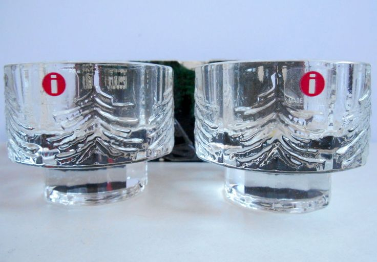 Pair Iittala Finland Kuusi Glass Votive Candle Holder Pine Fir Tree New in Box