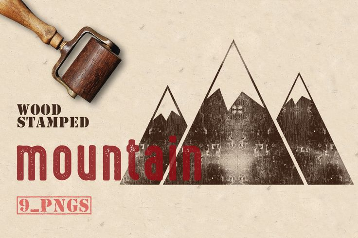 Wood Stamped Mountain by Kaazuclip on @creativemarket