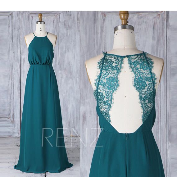 Bridesmaid Dress Forest Green Chiffon Dress Wedding Dress Illusion Lace Open Back Prom Dress Halter Neck A-line Sleeveless Maxi Dress(L341)