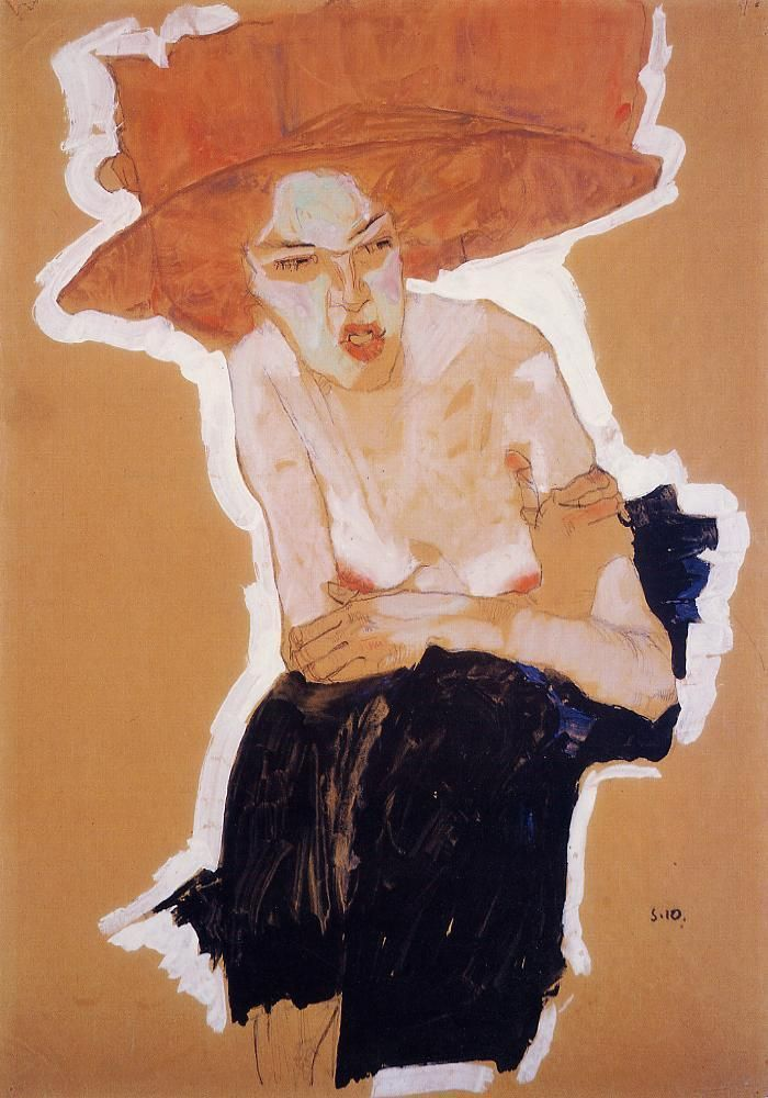 EgonSchiele The Scornful Woman, 1910 Gouache, watercolor and charcoal with white highlighting, 45 x 31.4cm