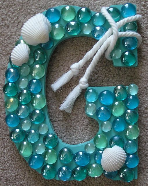 DIY Coastal Letter / The perfect accessory to go along with your little girl's mermaid theme room complete with hand-painted mermaid wall murals by Muralistick: www.muralistick.com