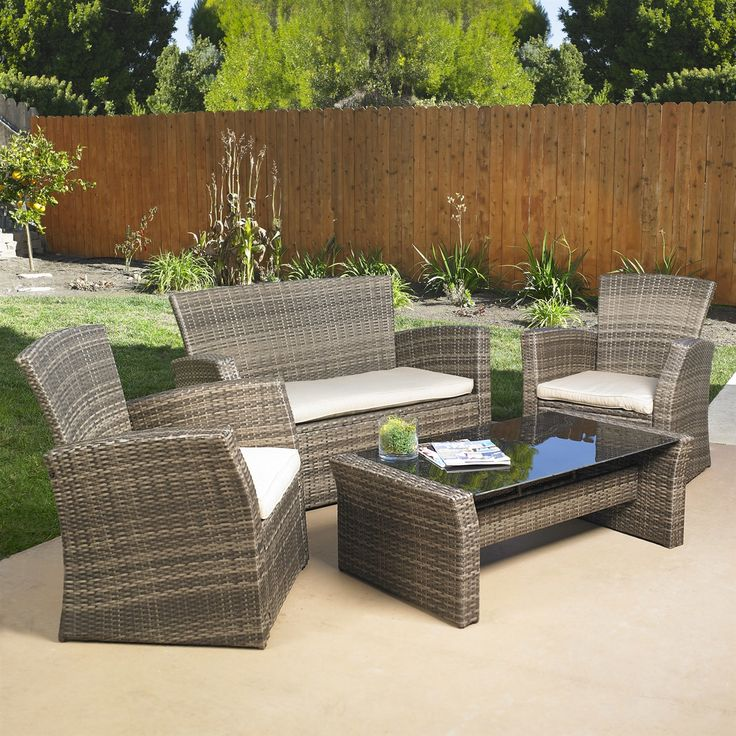 4-Piece Outdoor Weather Resistant Wicker Resin Patio Furniture Set with Cushions - Quality House