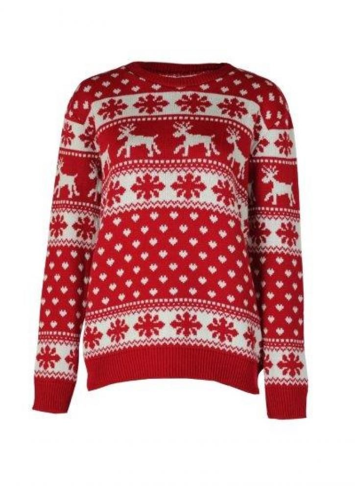 Snowflake Reindeer Christmas Jumper featuring ribbed collar and arms  Size S/M - Select S Size M/L - Select L
