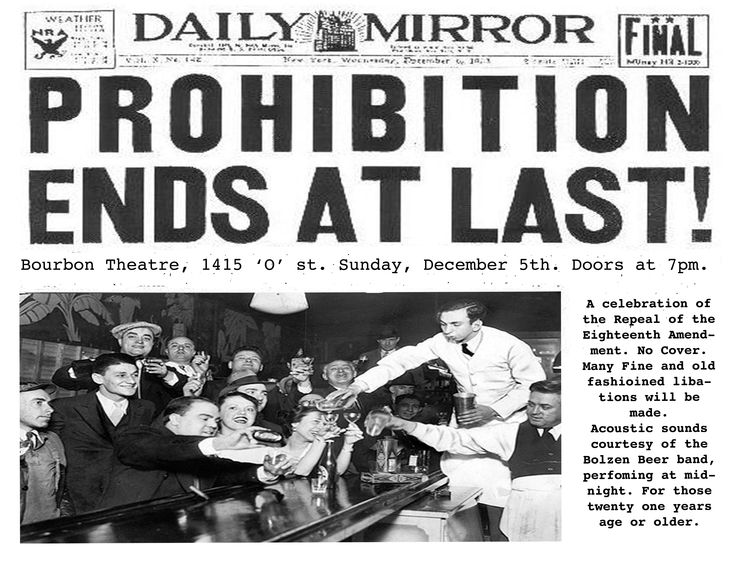 Why prohibition was repealed in 1933 essay