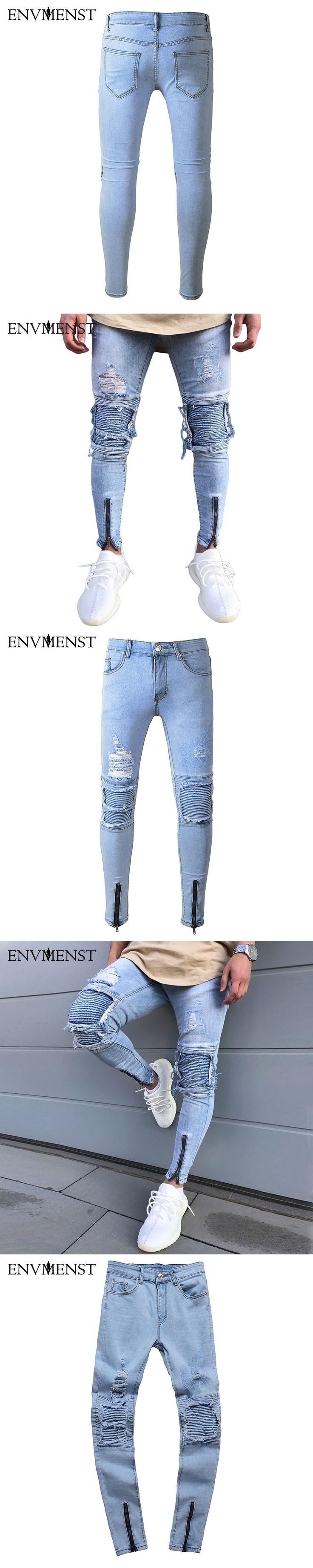 2017 Envmenst Brand Designer Slim Fit Ripped Jeans Men Hi-Street Mens Distressed Denim Joggers Knee Holes Washed Destroyed Jeans