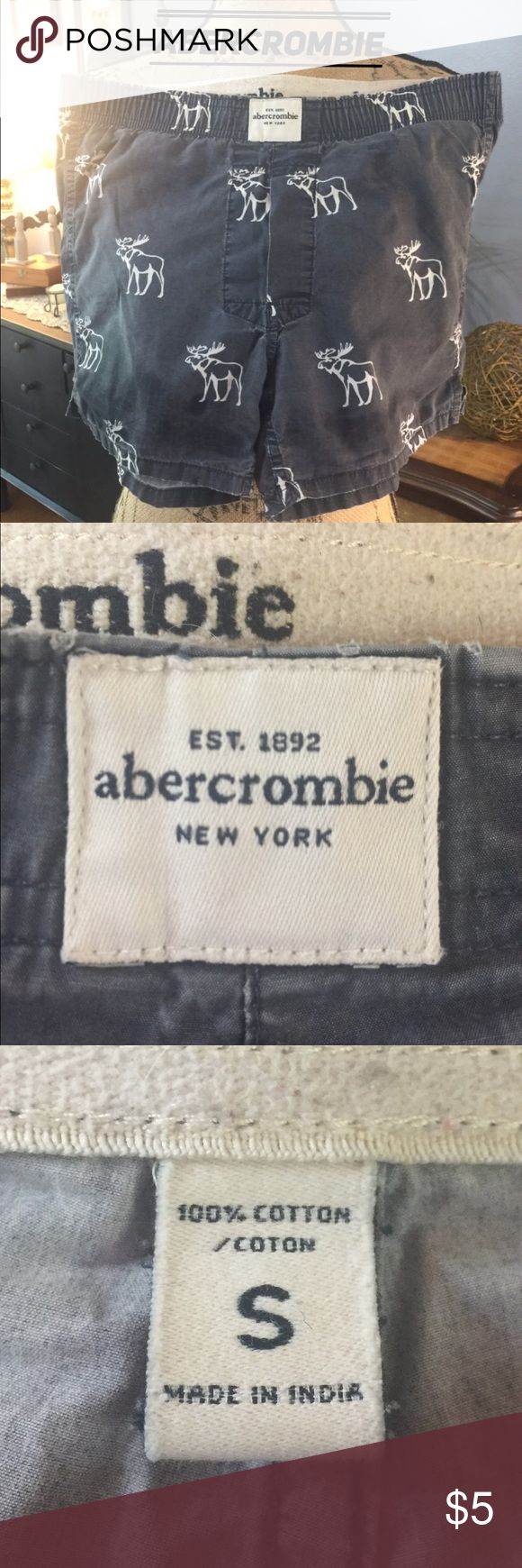 """Abercrombie Unisex Boxer Shirts Cotton boxer shorts, size small, from Abercrombie. In my opinion, these can be unisex. THIS IS A RE-POSH. I bought these to use them as sleep shorts & although I wear a size small in other Abercrombie clothing (sweats, etc), these shorts wouldn't go over my hips! 😱 They don't say Abercrombie """"kids"""", so I'm assuming they're adult size small? Would best fit a child's size large, in my opinion. (My 12 yr old daughter is a size 10-12 girl's size & they're a bit…"""