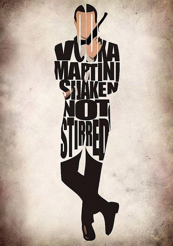 James Bond Print - Sean Connery as James Bond 007 - Minimalist Illustration Typography Art Print & Poster via Etsy