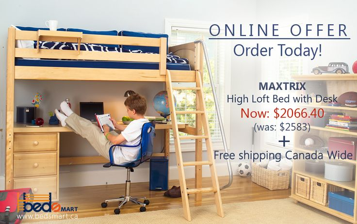 Live in Canada? Order today, and have this amazing Maxtrix High Loft Bed with Study Station delivered to you FOR FREE!  See all your at www.bedsmart.ca