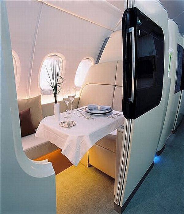 First class cabin with Emirates! #HiltonStory